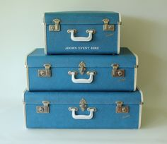 blue vintage suitcases - Google Search