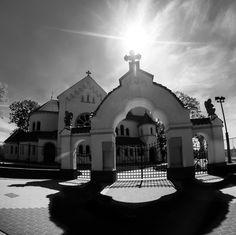 Sun on the Church - A Polish church.