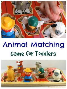 Use this fun animal matching game for toddlers to practice fine motor skills and language skills.