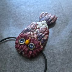 Small Jewel-toned Owl Sculpted Millefiori Pendant by Deb Hart