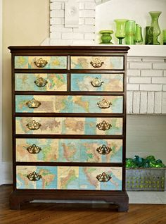 map covered drawers
