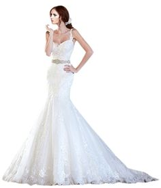 ZHUOLAN White Spaghetti Strap Mermaid Gown in Lace Wedding Dress at Amazon Women's Clothing store: