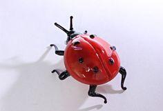 Blown Glass Ladybug Miniature ladybird Sculpture by miniatureglass
