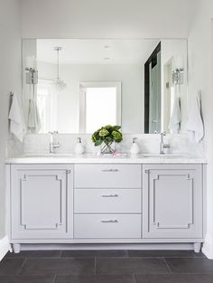 gorgeous gray vanity with marble top