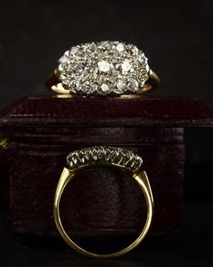 1900s Oval Edwardian European Cut Diamond Cluster Ring, Platinum & 14K / Erie Basin