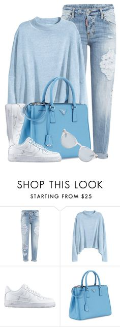 """Untitled #3645"" by monmondefou ❤ liked on Polyvore featuring Dsquared2, H&M, NIKE, Prada, Sun Buddies and Blue"
