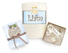 A magical quality and useful set.    The personalized baby set comes with the new prince name.    This lovely baby birth gift contains:    * A soft baby blanket.    Soft and sweet blanket , made of 100% soft cotton.    The blanket can be used as a summer blanket and in winter season as a quilt cover.    Colour choice: cream or blue    * Cotton muslin diaper    * Personalized pacifier clip holder designed with the baby's name -not including the pacifier  Price: $72