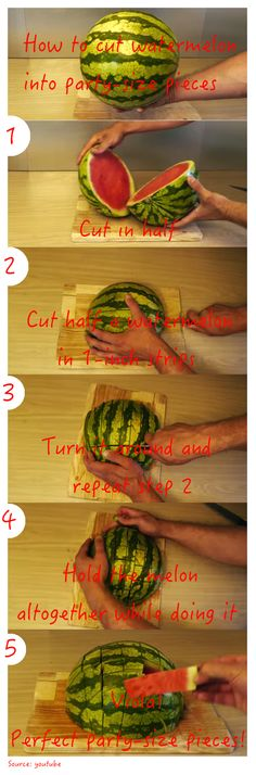 The easiest way to cut a watermelon into party-size pieces!