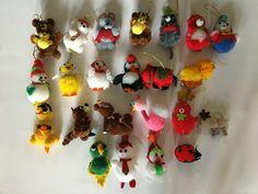 Lot of 23 Vintage Yarn Pom Pom Christmas Ornaments #Christmas