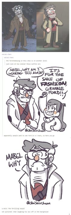 Ford´s fantastic V Neck!!! (by saisai-chan on tumblr) #GravityFalls #Ford #Mabel