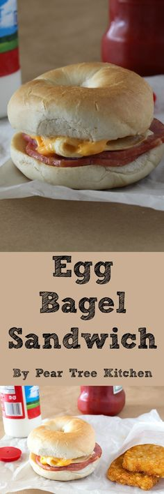 Toasted Bagels with Canadian Bacon, Egg, and Cheese. Perfect as a breakfast sandwich, quick dinner, or midnight snack. Healthy Breakfast Muffins, Breakfast Dishes, Eat Breakfast, Breakfast Recipes, Breakfast Sandwiches, Brunch Recipes, Breakfast Ideas, Cooking For Beginners, Recipes For Beginners