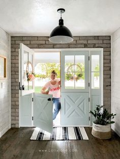 You'll double the love with these custom french dutch doors! These beauties will never go out of style and bring natural light into your home. Double Doors Exterior, Diy Exterior Dutch Door, Wood French Doors Exterior, Dutch Door Interior, Farm Door, Half Doors, Front Door Design, Diy Bathroom Remodel, House Doors