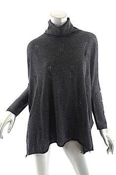 4b37d323a8 Details about JARBO Charcoal Wool Cashmere Blend Light Weight Turtleneck  Sweater Sz 38 US 12