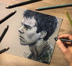 Colored pencil drawing of Dylan O'Brien as Thomas from The Maze Runner, back from 2015. Death Cure was wicked!