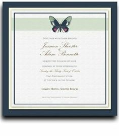 235 Square Wedding Invitations - Butterfly Moss Spice by WeddingPaperMasters.com. $599.25. Now you can have it all! We have created, at incredible prices & outstanding quality, more than 300 gorgeous collections consisting of over 6000 beautiful pieces that are perfectly coordinated together to capture your vision without compromise. No more mixing and matching or having to compromise your look. We can provide you with one piece or an entire collection in a one stop shopping e...