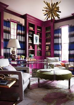glam library | colorful living room | vibrant interior design ideas | modern furniture