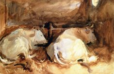 The Athenaeum - Two Oxen in a Stable (John Singer Sargent - )