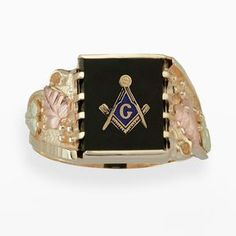 Black hills gold tri-tone onyx masonic ring - men on shopstyle.com