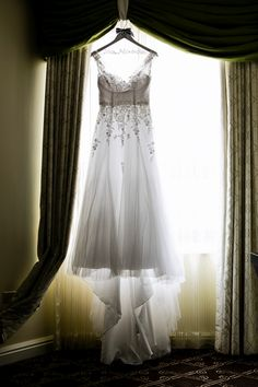 A gorgeous lighting shot of a wedding gown!  Nautical Yacht Club I Do's // Sassy Chicago Weddings | The official blog of Wedding Guide Chicago!