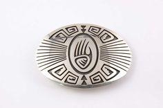 Hopi Jewelry Sterling Silver Bear Paw Design Belt Buckle by Floyd Lomakuyvaya