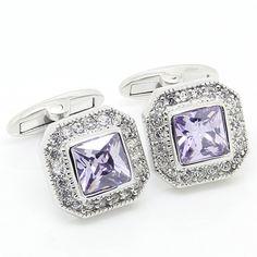 Purple Crystal Wedding Cufflinks