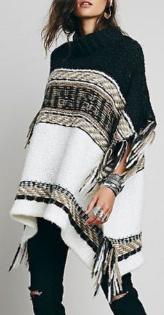 Casual Weekend Fashion! Comfy Stylish Stand Collar Half Sleeve Tassels Embellished Loose-Fitting Women's Sweater #Fringe #Poncho #Sweater #Fashion