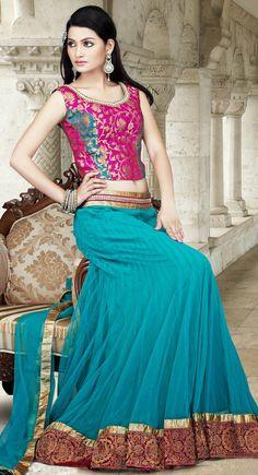 Attractive Cyan Blue Lehenga Choli