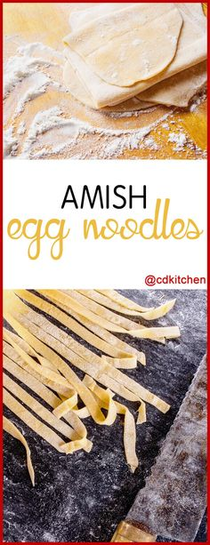 Amish Egg Noodles - If you've never had homemade egg noodles you've been missing out! If you have the time to make them it is totally worth it. Amish Recipes, Dutch Recipes, Cooking Recipes, Cooking Ideas, Homemade Egg Noodles, Homemade Pasta, Homemade Noodle Recipe, Chicken And Egg Noodles, Garlic Noodles