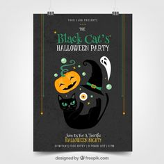 Halloween party poster with cat and other elements | Free Vector  #Brochure #Flyer #Poster #Music #Party #Halloween #Template #Brochuretemplate #Cat #Partyposter     #Dance     #Leaflet     #Celebration     #Holiday     #Event     #Festival     #Flyertemplate     #Stationery     #Partyflyer     #Postertemplate