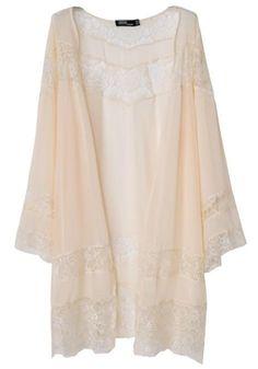 Beige Patchwork Lace Wavy Edge Chiffon Kimono - Tops