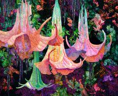 """Reiman's Angel Trumpets"" - quilt by Linda Andeberg of Ankeny, Iowa Angel Trumpet, Flower Quilts, Art Textile, Applique Quilts, Fabric Art, Quilting Designs, Art Forms, Fiber Art, Amazing Art"