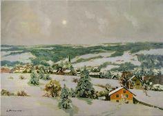 Stanislav Fomenok - Winter im Weiler im Allgäu Winter, Painting, Art, Kunst, Drawing Pictures, Winter Time, Art Background, Painting Art, Paintings