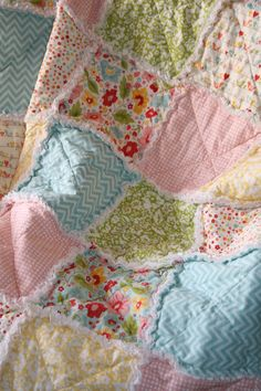 Crib Rag Quilt Baby Girl Crib Bedding Zoe Pearn The Sweetest Thing Made to Order. $109.00, via Etsy.