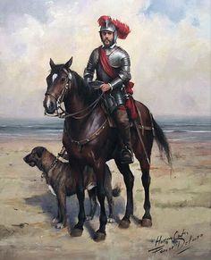 La Pintura y la Guerra A Conquistador and his War Dog War Dogs, Conquistador, Military Art, Military History, Renaissance, Thirty Years' War, Landsknecht, Spanish Heritage, Historical Art