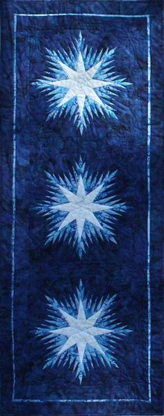Winter Wonderlands Table Runner ~ Quiltworx.com, made by Certified Instructor, Ginny Radloff Place Mats Quilted, Winter Quilts, Table Runner Pattern, Blue Christmas, Christmas Blocks, Lap Quilts, Quilted Table Runners, Mug Rugs, Table Toppers
