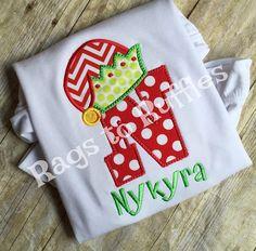 Elf Letter Monogrammed Christmas Shirt by ragstoruffles5 on Etsy