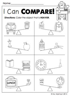 "$Back to School Printable Packet - Kindergarten Literacy and Math. ""I Can Compare"" Heavier vs Lighter"