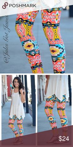 COMING SOON! Bright Mixed Print Leggings These brightly colored mixed print leggings are soft as butter. 92% polyester, 8% spandex. One size fits Small - Large (2-12). Bundle items to save! Infinity Raine Pants Leggings