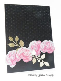 Altenew Vintage Roses and inks, Tattered Lace Leaf dies. Loving the drama of the black and pink!