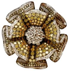 Champagne & Brown Diamond Flower Brooch