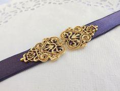 Dark Purple Elastic Waist Belt. Gold Filigree by MissLaceWedding