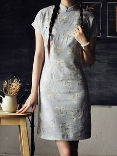 Blue Short Floral Mandarin Collar Cheongsam / Qipao / Chinese Dress