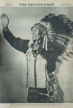 "Black Elk of the Oglala Sioux is 97, but still an active leader of his people on the Pine Ridge, S.D., reservation. He is enjoying the ""Indian Summer"" of life. He is one of the few living survivors of the Custer Battle, has traveled thruout the far east, still speaks only the Sioux tongue. He is shown here in full tribal regalia while on a recent Denver visit, his first in forty years. THE DENVER POST - November 10, 1946"