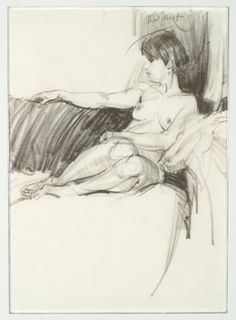 "NED JACOB: CHARCOAL/PENCIL DRAWING ""NUDE ON SOFA"""