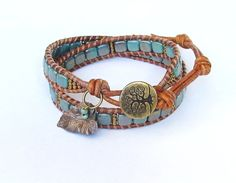 Tree of Life turquoise CzechMates with by WorldOfSquirrelCraft, $25.00