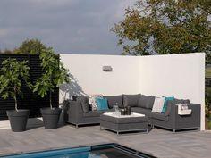 IBIZA Lounge für den Garten #garten #gartenmöbel #gartensofa #gartenlounge #loungegruppe #sitzgruppe #gartensessel #alu #textilene #modulsofa #ganzjährig #wetterfest #günstig #kaufen #design #designmöbel #grau #taupe