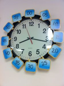 Good idea to label classroom clock with minutes to reinforce telling time.