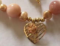 Pink Peruvian Opal  Pearls 14k yellow Gold Clasp 10k hat pin necklace  | eBay