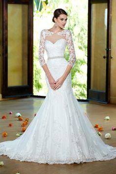 2014 Bateau de sirène / trompette manches robe de mariage complet avec perlé Sash Et Applique EUR 223.77 VGFPAC4FM1L - VoguePromDressesFR