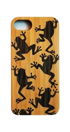 Tree Frogs bamboo wood phone case for iPhone models 6 thru 11 Pro Max.